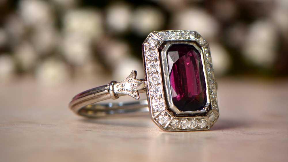 Garnet Platinum Ring January Birthstone