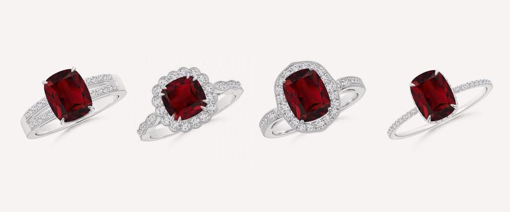 Garnet Platinum Rings
