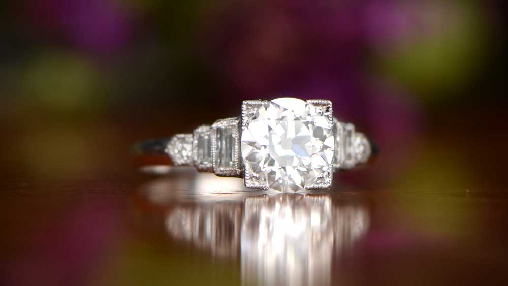 Art Deco Era Engagement Ring with architectural designs