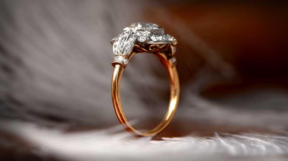 London Gold Engagement Ring Art Nouveau