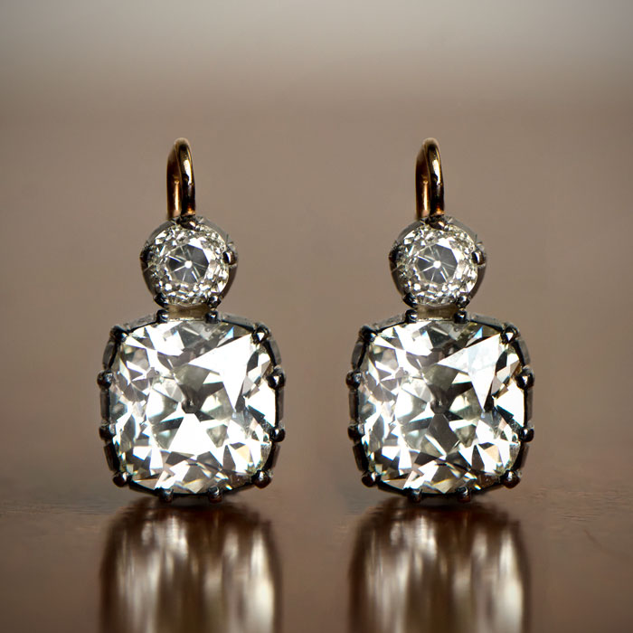 Antique Cushion Cut Earrings Victorian Style
