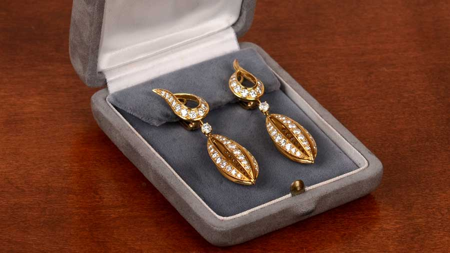 VCA Vintage Gold and Diamond Earrings