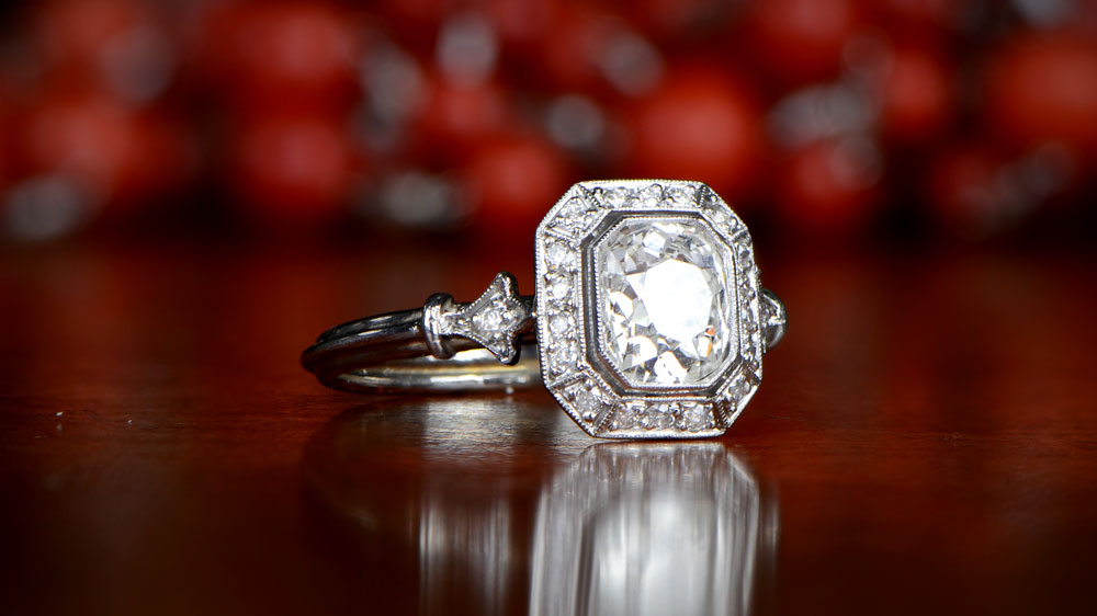 Engagement Ring with Halo of Diamonds