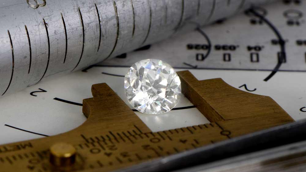 Old European Cut Diamond Being Measured