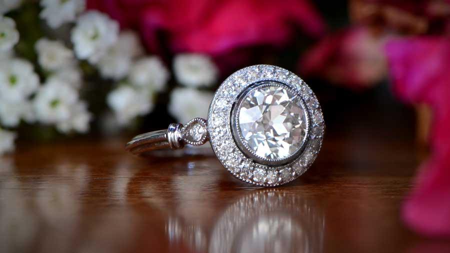 Diamond set in bezel engagement ring