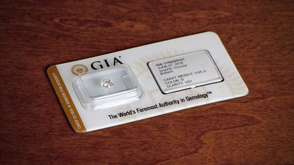 GIA D Color Diamond in UV Seal