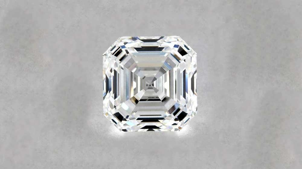 Asscher Cut Diamond on Grey Background