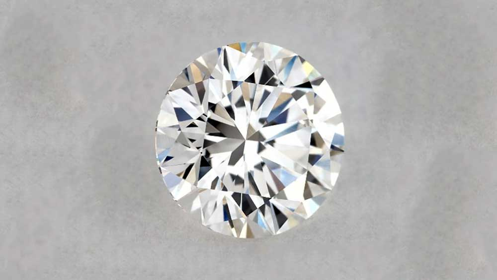 Brilliant Cut Diamond on Grey Background