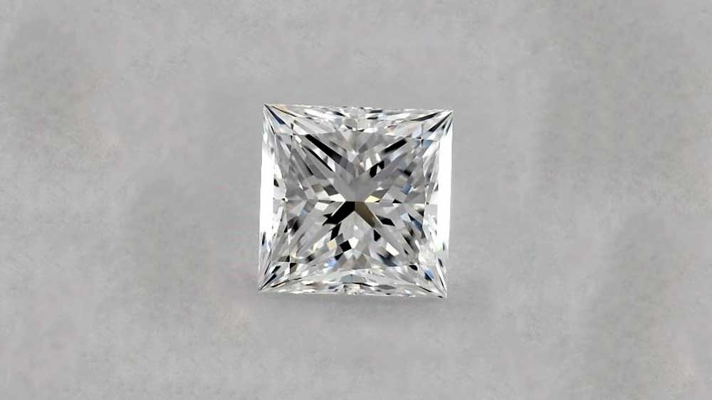 Brilliant Cut Princess Diamond on Grey Background