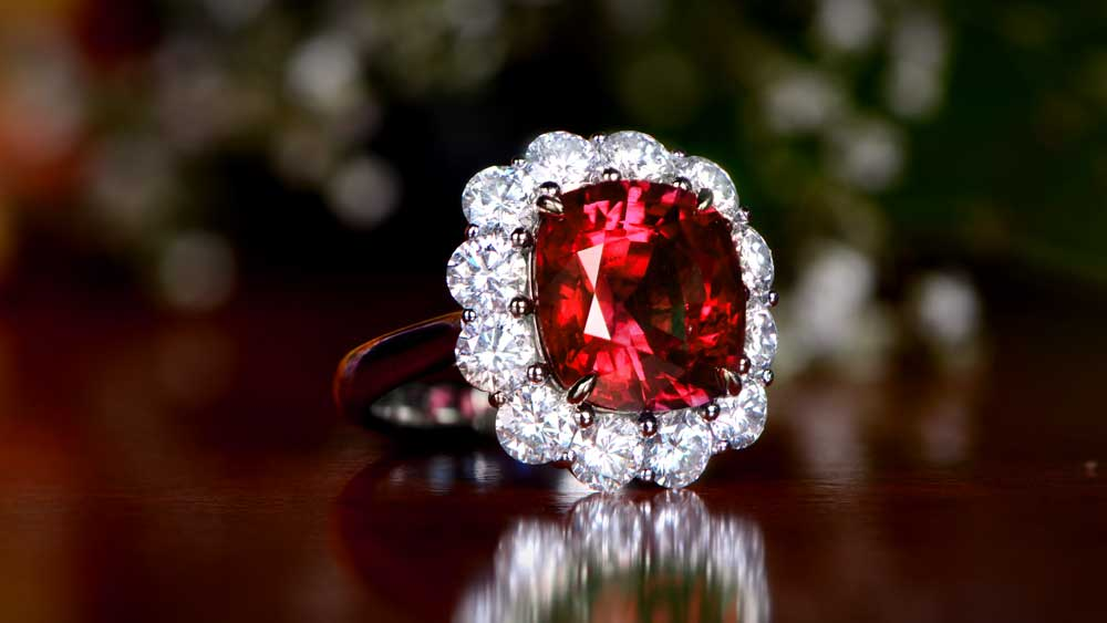 Ruby Ring Surrounded by Diamonds