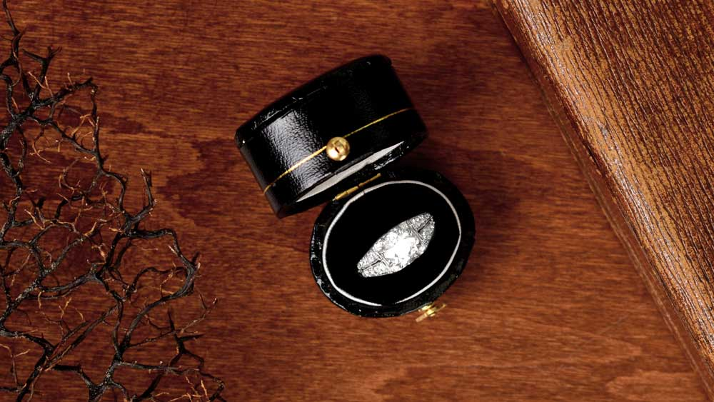 Antique Engagement Ring in Box with Plants