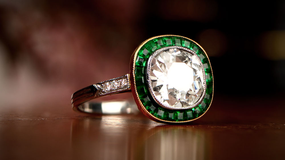 Engagement Ring with Emerald Halo