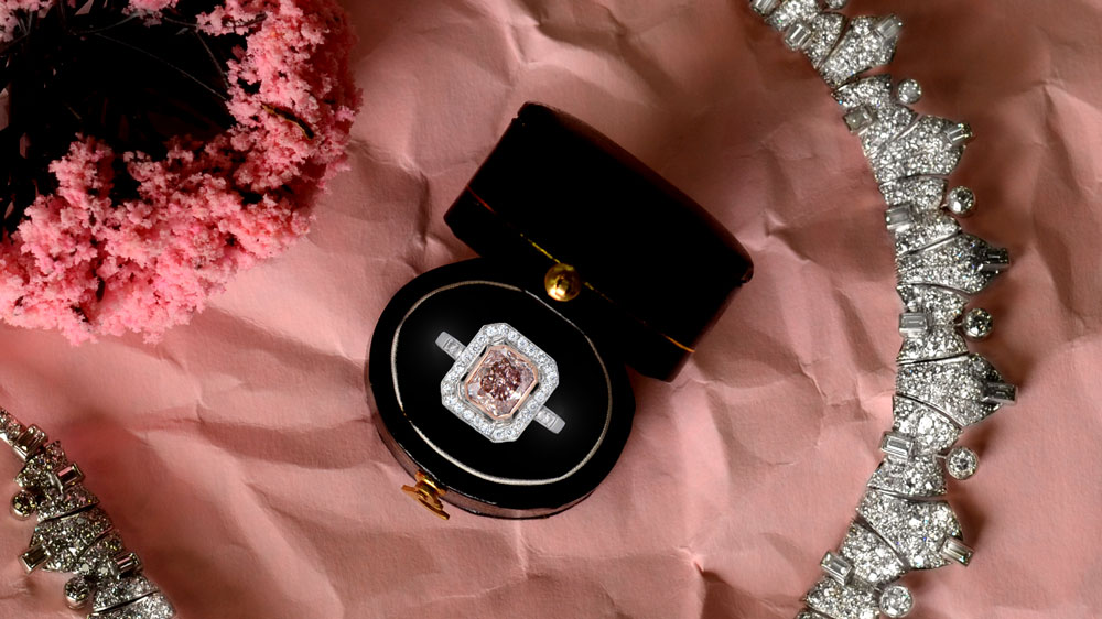 Pink Diamond Engagement Ring in Box