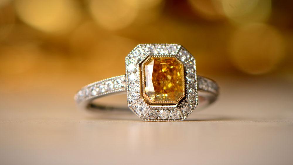 Yellow Diamond Engagement Ring with White Diamond Halo