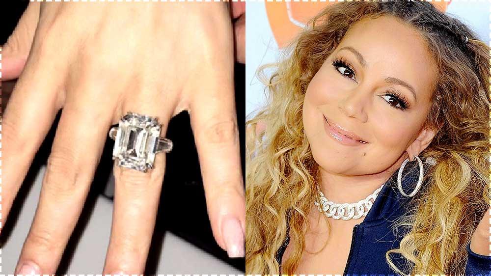 mariah carey and close up of engagement ring