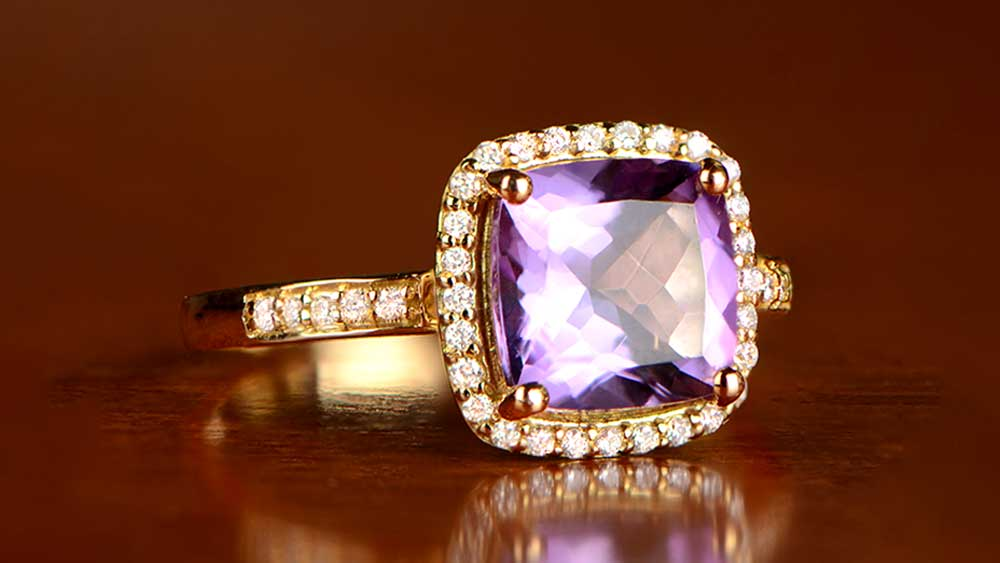 Amethyst Ring with 18K Gold