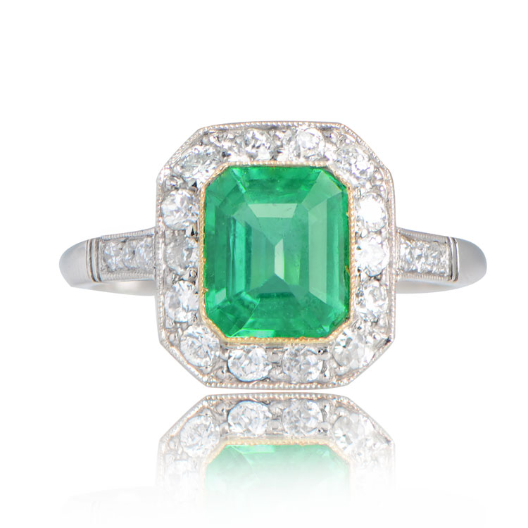 Bakewell Ring 1 33 Carat Natural Emerald And Platinum Ring